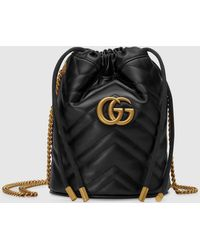 Gucci 【公式】 (グッチ)〔GGマーモント〕ミニ バケットバッグブラック レザーブラック