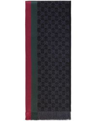 Gucci Gg Jacquard Knit Scarf With Web And Fringe - Gray