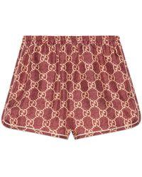 Gucci GG Supreme Print Silk Shorts - Red