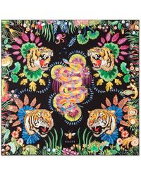 Gucci - Tigers And Kingsnake Print Silk Scarf - Lyst