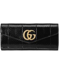 Gucci Broadway Snakeskin Clutch With Double G - Black