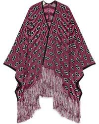 Gucci GG-jacquard Tasseled Wool-blend Poncho - Red