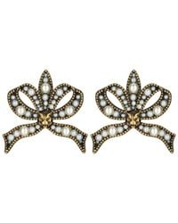 Gucci - Bow Earrings With Pearls - Lyst