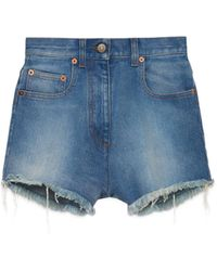 Gucci Washed Denim Shorts With Cherry - Blue