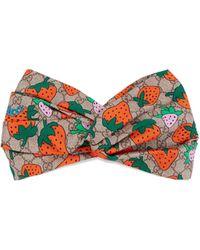 Gucci GG Stirnband mit Strawberry-Print - Natur
