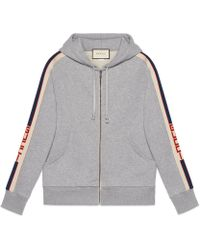 Gucci - Hooded Zip-up Sweatshirt With Stripe - Lyst
