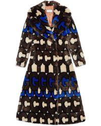 Gucci Stripe Faux Fur Coat - Black