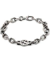Gucci Silver Bracelet With Interlocking G - Metallic