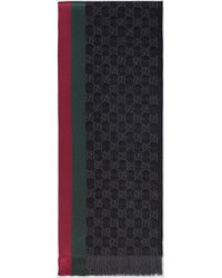 Gucci 【公式】 (グッチ)GGパターンマフラー(ウェブ/フリンジ)ブラック シルクウールグレー