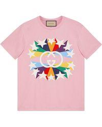 Gucci Camiseta de algodón con estampado de explosión estelar y GG - Rosa