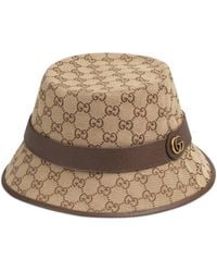 Gucci Monogrammed Canvas Bucket Hat - Natural