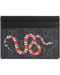 Gucci Kartenetui aus GG Supreme mit Kingsnake-Print - Schwarz