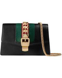 2d30031f5b3 Gucci - Super Mini Sylvie Leather Shoulder Bag - Lyst