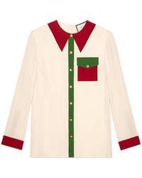 Gucci - Trompe L'oeil Silk Satin Shirt - Lyst