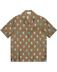 Gucci Doraemon x Bowling Shirt mit GG - Mehrfarbig