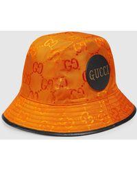 Gucci 【公式】 (グッチ) Off The Grid フェドラハットオレンジ GG Econyl®オレンジ