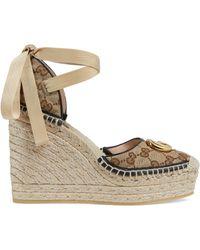 Gucci Gg 85h Matelasse Espadrille Platform Sandals - Natural