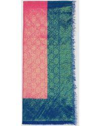 Gucci Stola aus schillernder Wolle mit GG Motiv - Pink