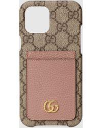 Gucci 【公式】 (グッチ)〔GGマーモント〕オンライン限定 Iphone 12 Pro Max ケースGGスプリーム&ピンク レザーベージュ - ナチュラル