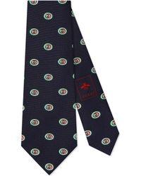 Gucci Cravate en soie à motif GG - Bleu