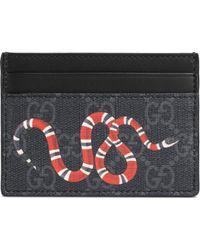 Gucci Kingsnake Print GG Supreme Card Case - Black