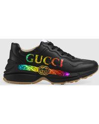 Gucci - グッチ〔ライトン〕 ウィメンズ ロゴ レザー スニーカー - Lyst
