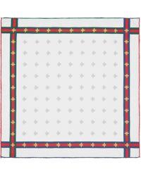 Gucci Fazzoletto da taschino in seta con dettaglio Web e motivo api - Bianco