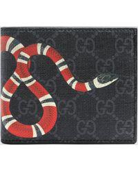 Gucci Brieftasche für Münzen aus GG Supreme mit Kingsnake Print - Schwarz