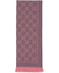 Gucci Gg Jacquard Pattern Knit Scarf - Pink