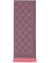 Gucci Écharpe en laine GG - Rose