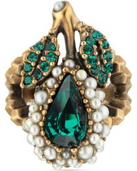 Gucci - Crystal Pear Ring In Metal - Lyst