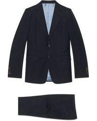 Gucci Anzug aus Wollgabardine mit gerader Passform und Bienen - Blau