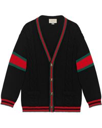 Gucci Oversized Web Cable Knit Knitwear - Black