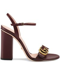 2e57a6346 Gucci Leather Double G Sandal in Brown - Lyst