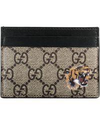 Gucci Tarjetero GG Supreme con Estampado de Tigre - Neutro