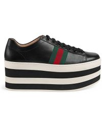Gucci - Striped Platform Leather Trainers In Black And White - Lyst