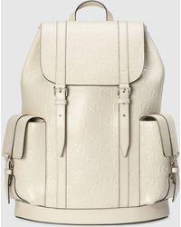 Gucci Rucksack aus geprägtem GG Leder - Weiß