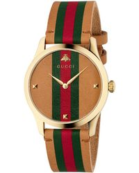 7538ae01ca5 Lyst - Gucci G-timeless Stainless Steel And Leather Watch in Black ...