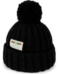 Gucci Wool Hat With Jacquard Label - Black