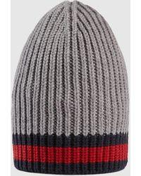 Gucci Mütze aus Wolle mit Web - Grau