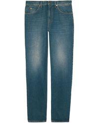 Gucci Pantalón de ajuste normal de denim lavado - Azul