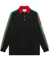 Gucci - Cotton Polo With Stripe - Lyst