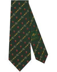 Gucci Corbata de seda con Doble G, piñas y fresas - Verde
