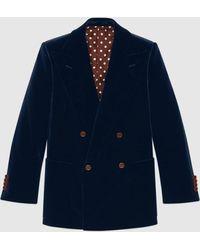 Gucci グッチベルベット ジャケット - ブルー