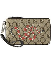 Gucci Kingsnake Print GG Supreme Iphone Pouch - Natural