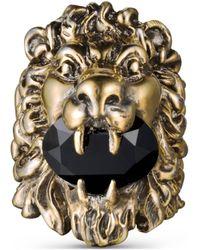 Gucci Anillo con cabeza león y cristal - Metálico