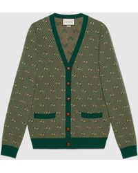 Gucci Cardigan aus wolle mit gg streifen - Grün
