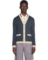 Gucci Cardigan en soie et coton à motif diagonale GG - Bleu
