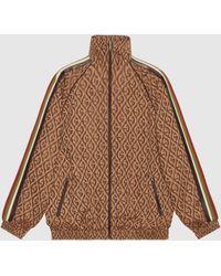Gucci Jacke mit Reißverschluss und G Rhombus-Muster - Braun