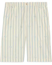 Gucci Short de algodón a rayas con Doble G - Blanco